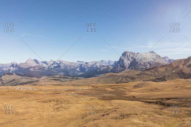 Italy- South Tyrol- Dolomites- Groedner Dolomites with Langkofel group- Langkofel- Plattkofel