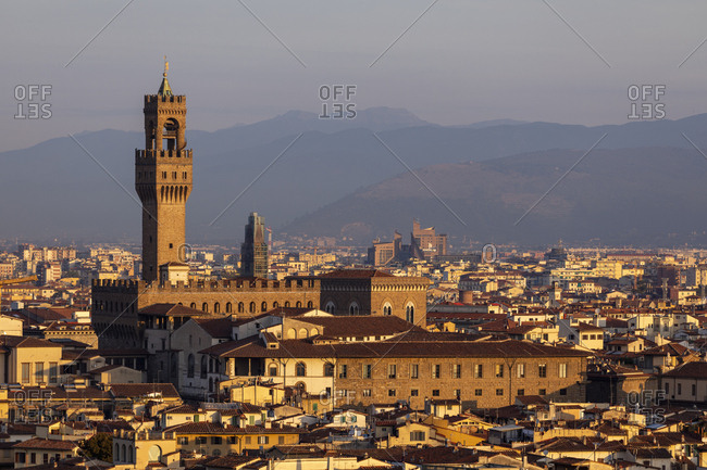 Italy- Florence- Cityscape and Palazzo Vecchio in the morning light