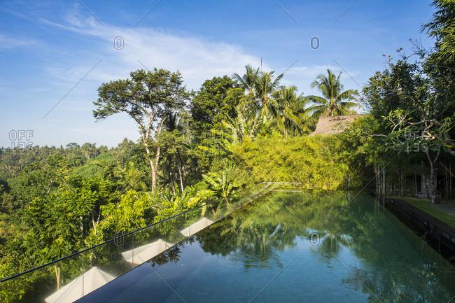 Indonesia- Bali- Ubud- Overflowing pool in the Kamandalu Ubud resort