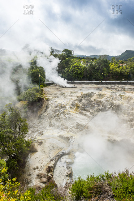 Portugal- Azores- Sao Miguel- Fumaroles in the town of Furnas