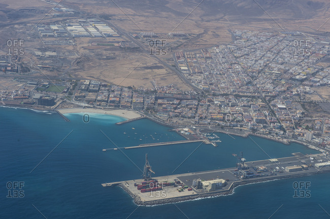 Spain- Canary Islands- Fuerteventura- aerial view of Puerto del Rosario