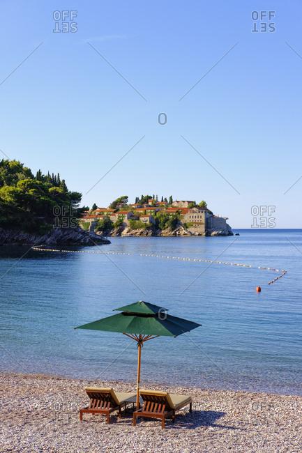 Montenegro- Adriatic Coast- near Budva- Milocer- Sveti Stefan Island
