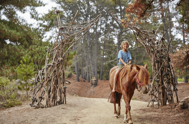 Boy riding on horse through a forest