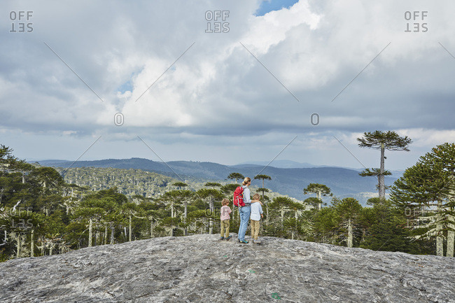 Chile- Puren- Nahuelbuta National Park- woman standing with sons on boulder looking at Araucaria forest