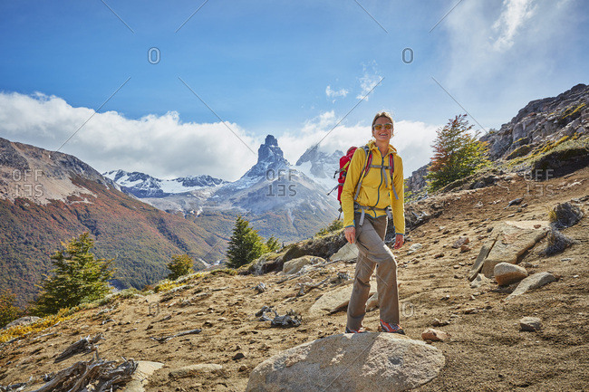 Chile- Cerro Castillo- woman on a hiking trip in the mountains