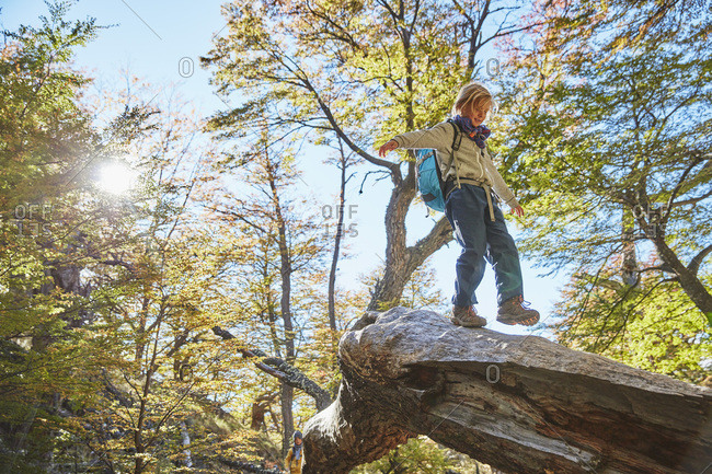 Argentina- Patagonia- El Chalten- boy balancing on a tree trunk in forest