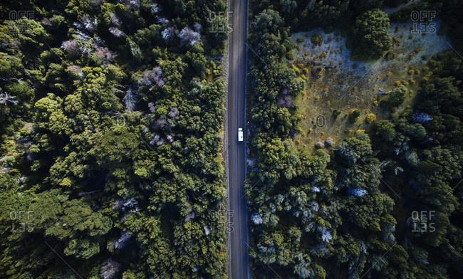 Argentina- Patagonia- Lago Futalaufquen- drone picture of camper on gravel road in forest