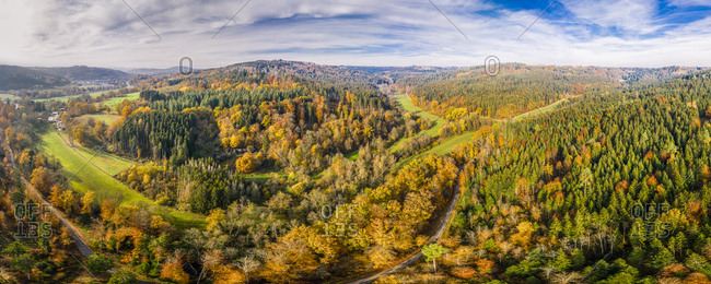Germany- Baden-Wuerttemberg- Swabian Franconian forest- Aerial view of forest in autumn