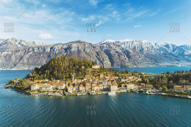Italy- Lombardy- Aerial view of Bellagio and Lake Como