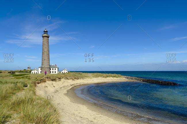 Denmark- Jutland- Skagen- Grenen- grey lighthouse