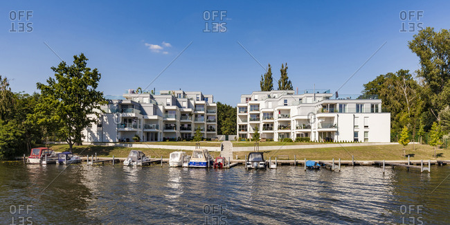Germany- Treptow-Koepenick- near Oberschoeneweide- Spree riverside and modern multi-family houses