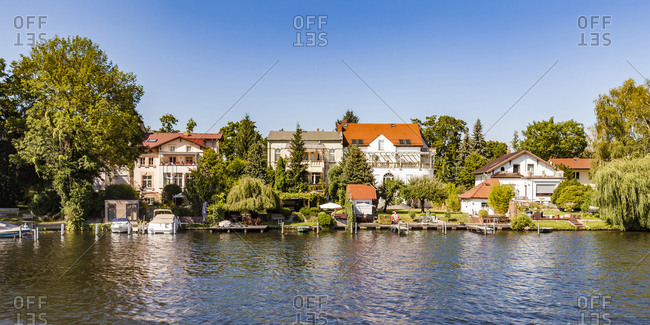 Germany- Treptow-Koepenick- near Oberschoeneweide- Spree riverside and one- and multi-family houses