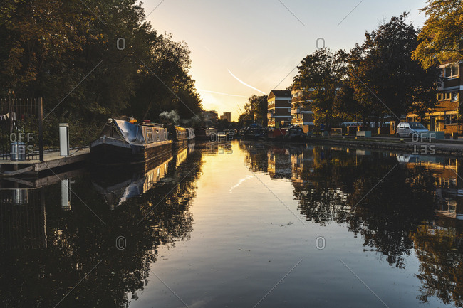 United Kingdom- England- Camden- London- Regent's canal- house boats at sunset