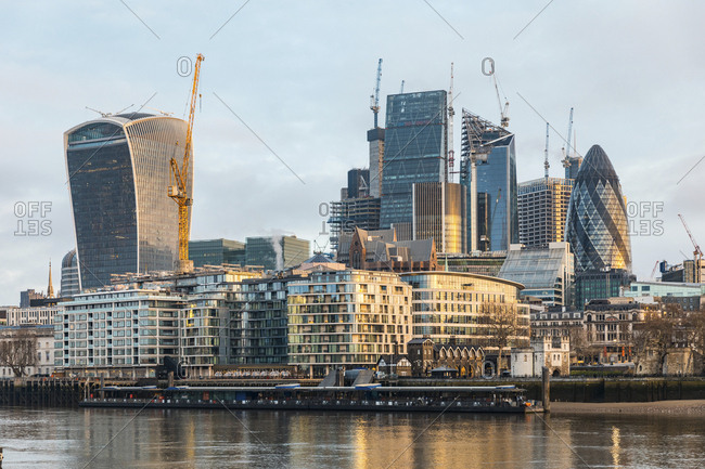 United Kingdom- England- London- financial district with modern skyscrapers in the morning light- long exposure