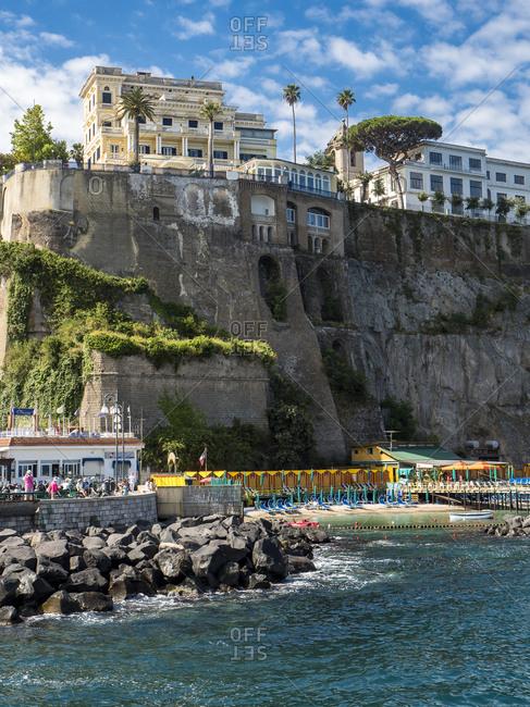 Italy -  June 15, 2016: Campania- Sorrento- cliff coast and hotels