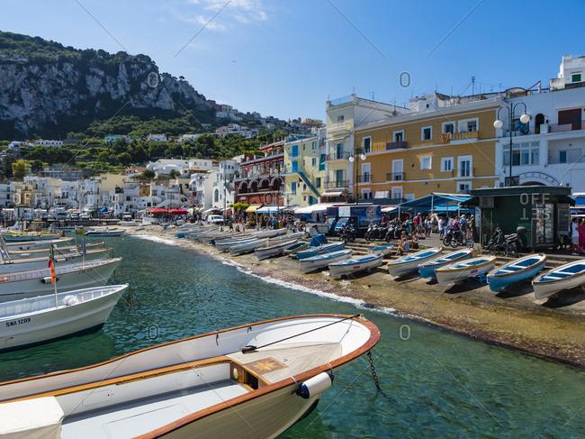 Italy - June 15, 2016: Campania- Capri- Marina Grande
