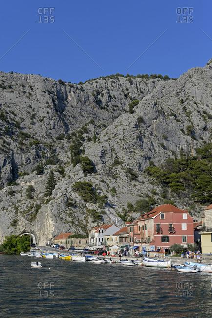 Croatia - July 20, 2018: Dalmatia- view to Omis at Cetina River