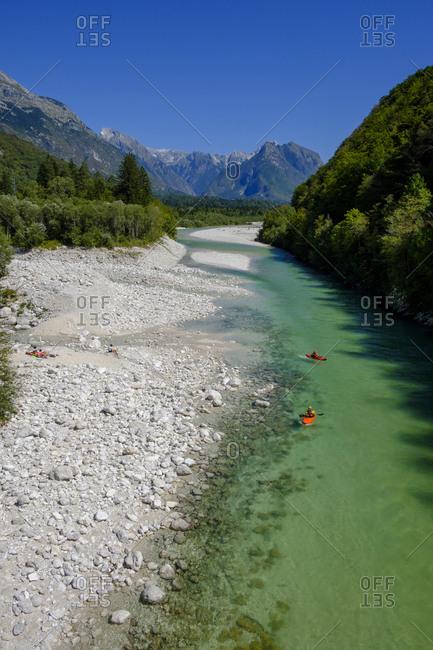 Slovenia - August 27, 2018: Soca Valley- near Bovec- Soca river- canoes