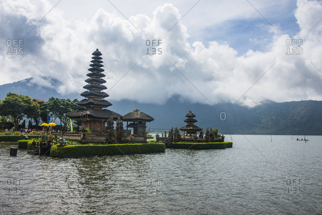 Indonesia - June 19, 2016: Bali- View of Temple Pura Ulun Danu Bratan at Lake Bratan