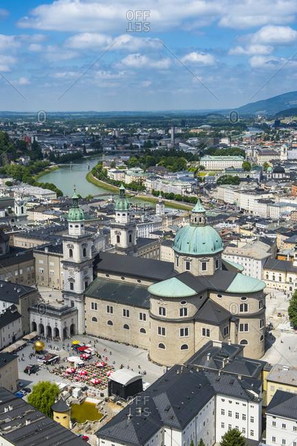 Austria - May 11, 2018: Salzburg State- Salzburg- Salzburg Cathedral and city view