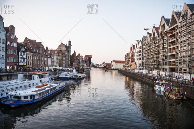 Poland - August 16, 2018: Gdansk- Hanseatic League houses on the Motlawa river