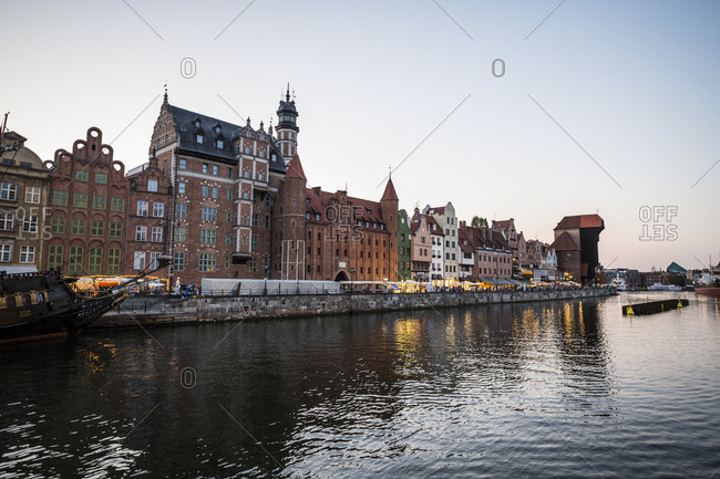 Poland - August 16, 2018: Gdansk- Hanseatic League houses on the Motlawa river