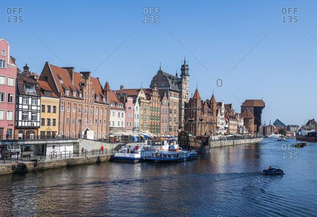 Poland - August 17, 2018: Gdansk- Hanseatic League houses on the Motlawa river