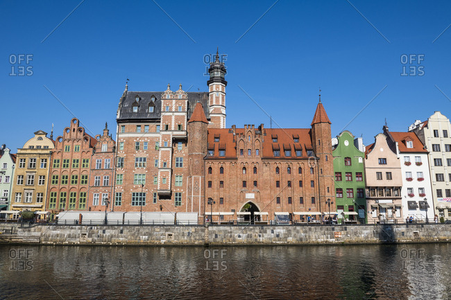 Poland - August 17, 2018: Gdansk- Hanseatic League houses on the Motlawa river