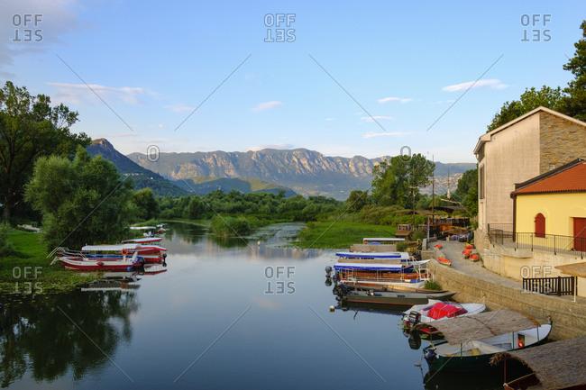 Montenegro - June 19, 2018: Virpazar- Lake Skadar- boats at lakeshore