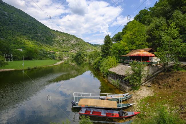 Montenegro - June 19, 2018: Rijeka Crnojevica- restaurant at river Crnojevic