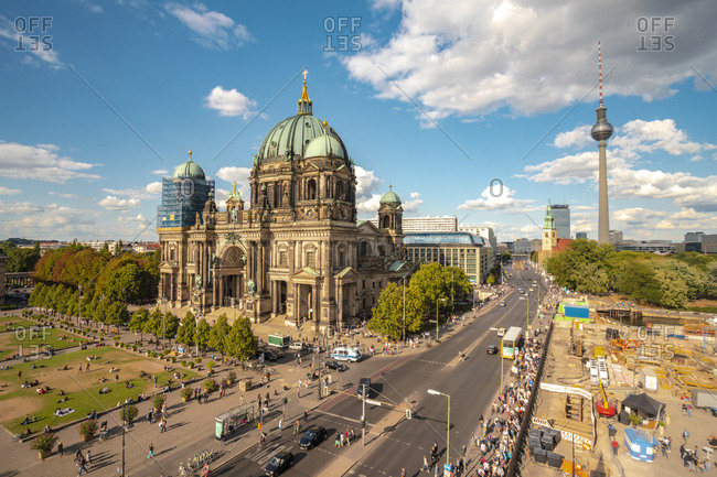 Germany - August 26, 2018: Berlin- Museumsinsel with Berlin Cathedral and Berlin TV Tower in the background