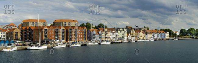 Denmark - June 17, 2018: Jutland- Sonderborg- view on city harbor