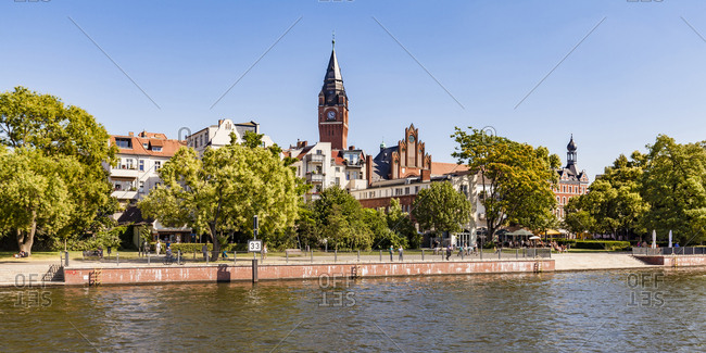 Germany - July 23, 2018: Berlin- Treptow-Koepenick- Spree river- Koepenick- Old town- Townhall- waterfront promenade