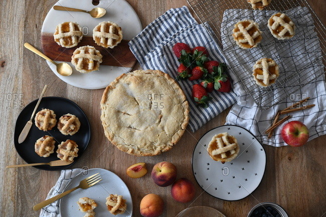 Overhead view of homemade fruit pastries