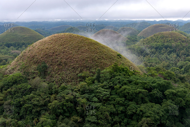 Misty view of The Chocolate Hills. Bohol, Philippines