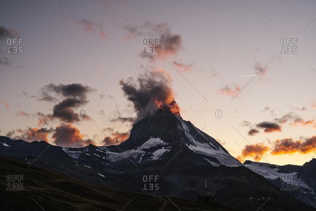 Clouds pass over Matterhorn mountain