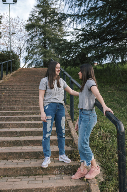 Young couple of lesbians in a park