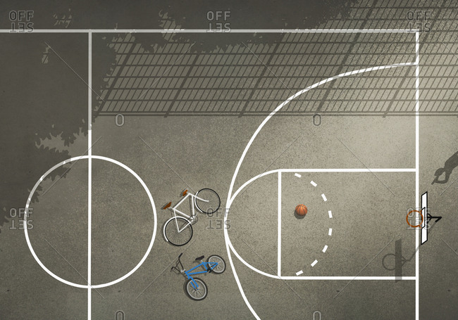 View from above bicycles and basketball on basketball court