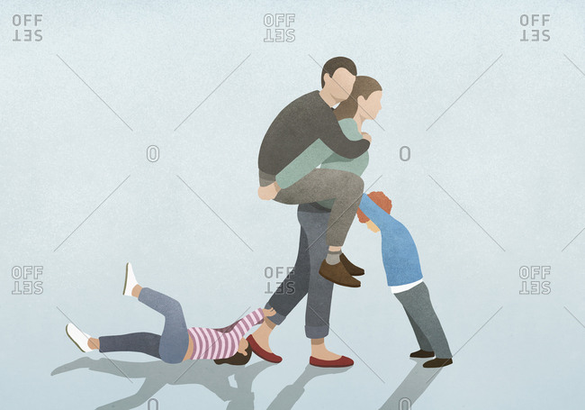 Woman burdened by husband on back and children pulling and pushing