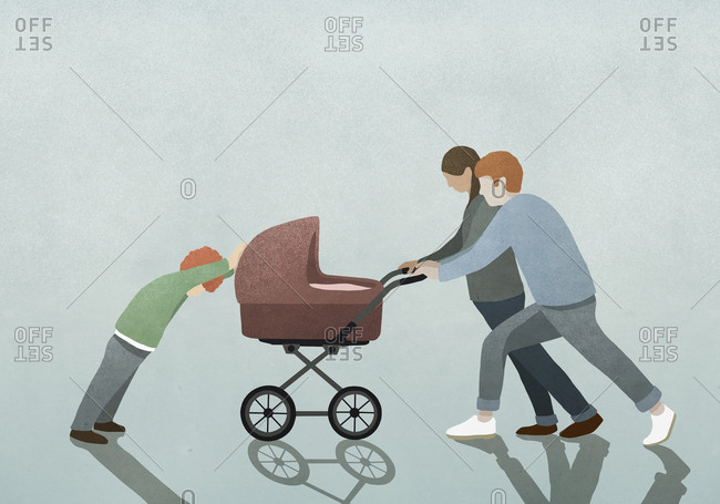 Child resisting parents pushing baby stroller