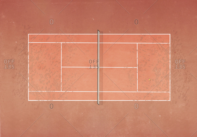 View from above tennis ball on clay tennis court