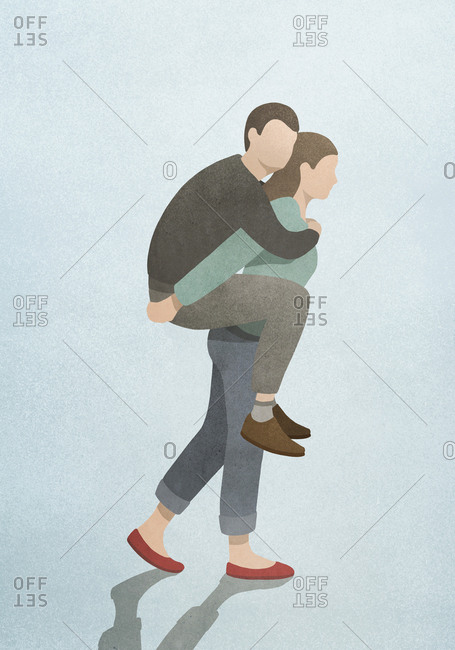 Woman carrying husband on back