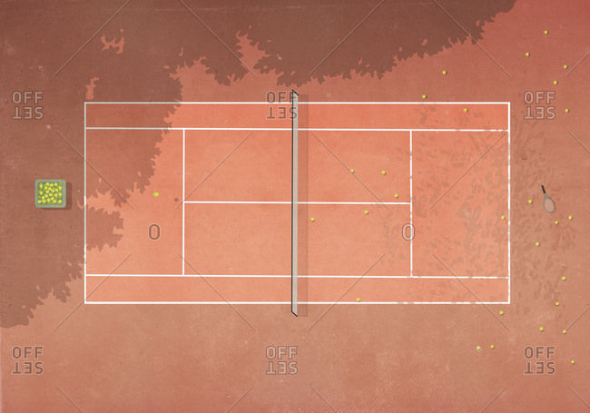 View from above tennis balls on clay tennis court