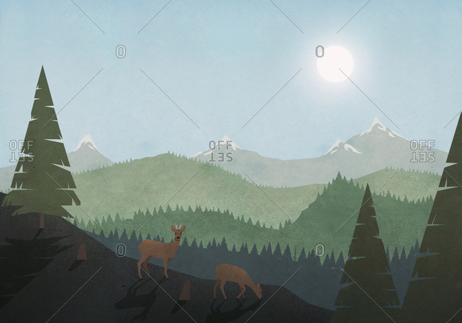 Idyllic view of deer grazing and sun over mountain and forest landscape