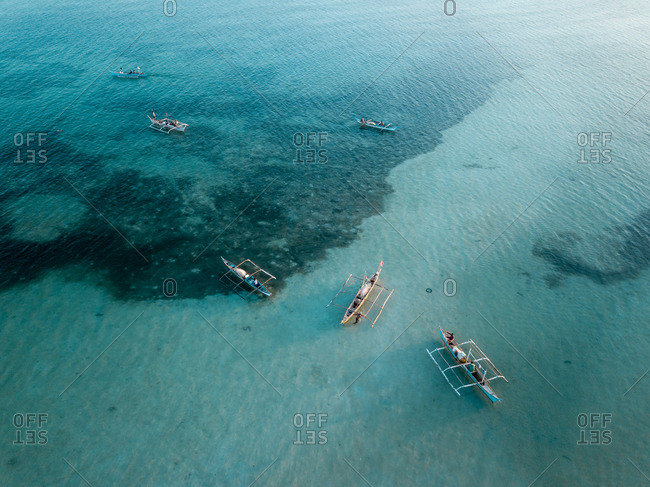 Aerial view of fishing boat (bangka) before the dusk, Bantayan Island, Cebu, Philippines
