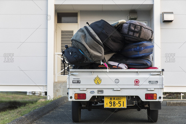 Tahara, Japan - September 16, 2018: Truck parked loaded with luggage