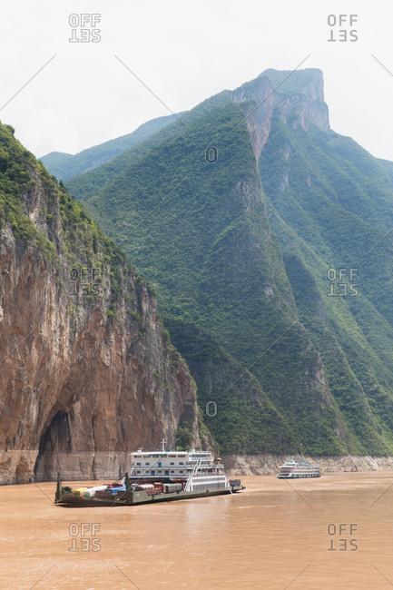 Yangtze River, China: August 9, 2018: Shipping boats on the Yangtze River