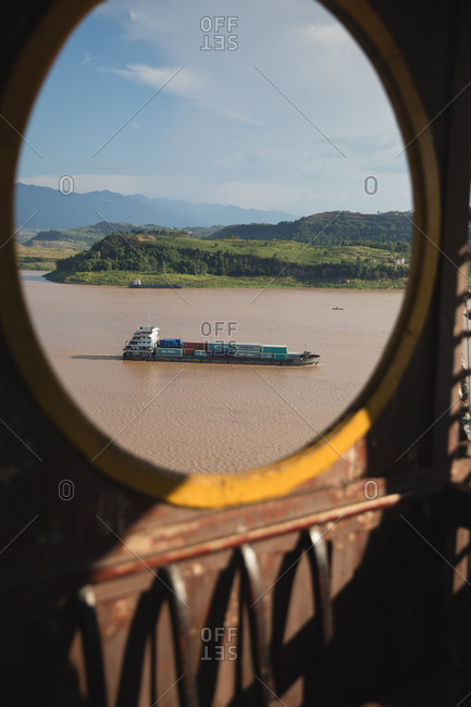 Yangtze River, China: August 8, 2018: View of large cargo ship on the Yangtze River