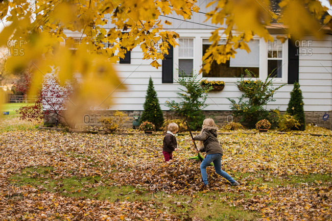 Two kids raking leaves