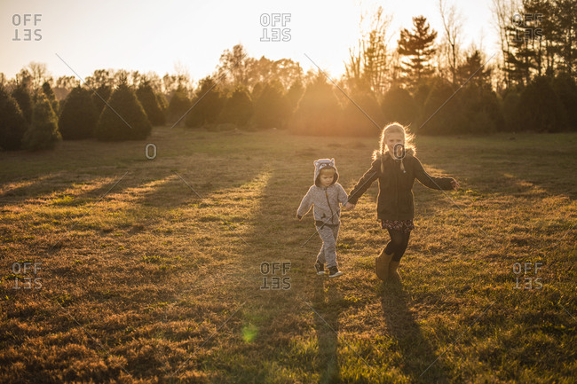 Girl and boy running around on a Christmas tree farm at sunset